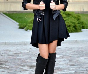 black, boot, and coat image