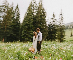 couple, flowers, and happiness image