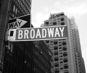 broadway, new york, and black and white image