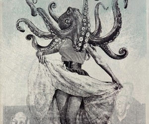 octopus, art, and woman image