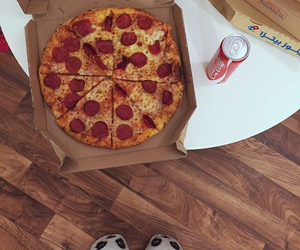 pizza, food, and coca-cola image