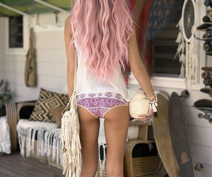 bag, pinkhair, and curly image