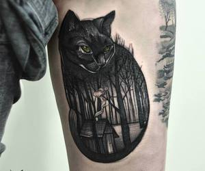 cat, tattoo, and black image