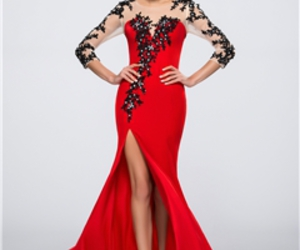 red evening dress, sexy evening dress, and cheap evening dress image