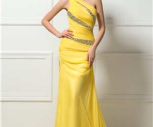 cheap evening dress, yellow evening dress, and modern evening dress image