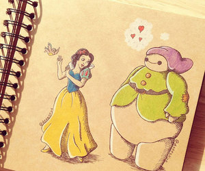 disney, snow white, and baymax image
