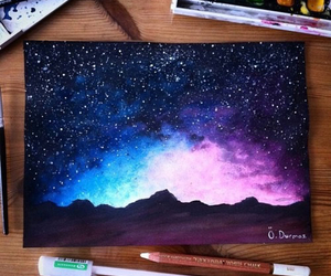 amazing, galaxy, and watercolor image