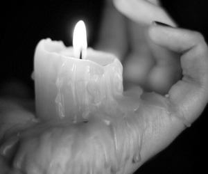 black and white, candle, and Hot image