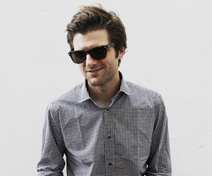 ray bans, parks and rec, and adam scott image