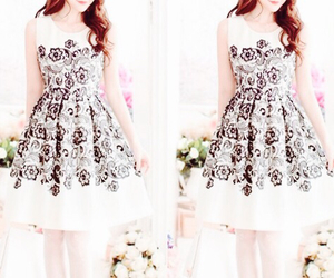 dress, fashion, and flower image