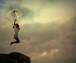 girl, umbrella, and jump image