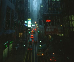 rain, city, and light image