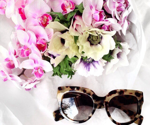 flowers, fashion, and sunglasses image