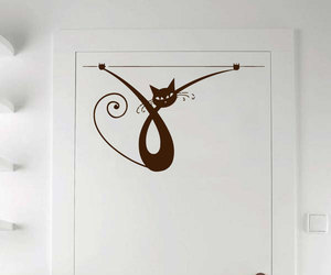 cat, wall decals, and funny kitten image