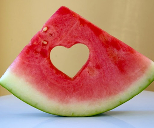 fruit, heart, and watermelon image
