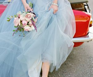 blue, flowers, and dress image