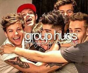 one direction, hug, and group hugs image