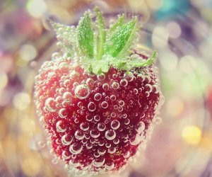 strawberry, water, and love image