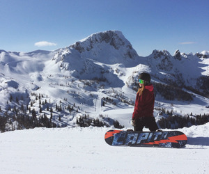 blonde, snow, and snowboard image