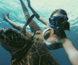 girl, summer, and turtle image