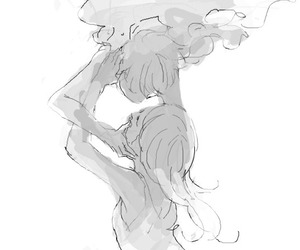 art, black and white, and couple image