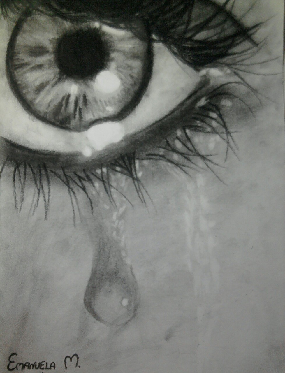 Eye Drawing Black And White Tear Drop Sad Broken Heart Grey By
