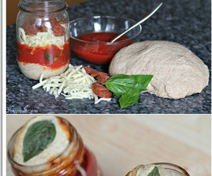 food, jar, and pizza image