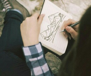 draw, flickr, and girl image