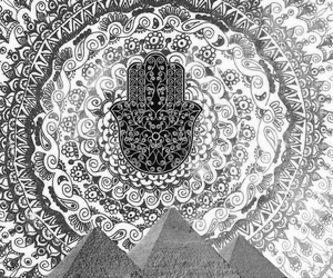 black and white, pyramids, and flowerpower image