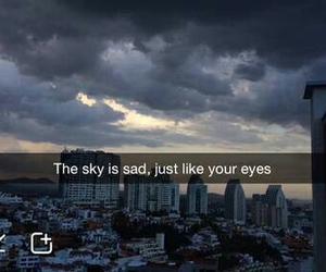 sad, sky, and eyes image