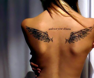 wing tattoo, angel tattoo, and embrace your dreams image