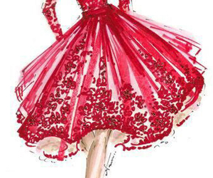 red, dress, and art image