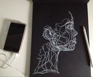 art, drawing, and black image