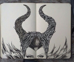 maleficent, drawing, and art image