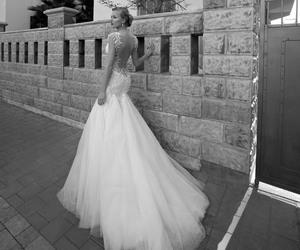 black & white, dress, and wedding image