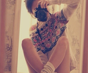 girl, camera, and sweater image