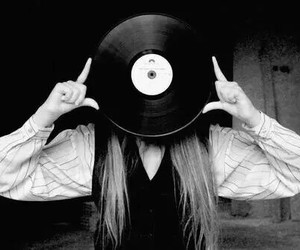 girl, black and white, and music image