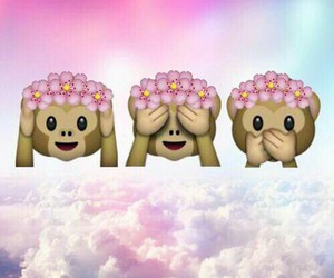 monkey, flowers, and emoji image