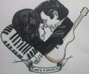music, Johnny Cash, and love image