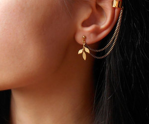 earrings, etsy, and gold image