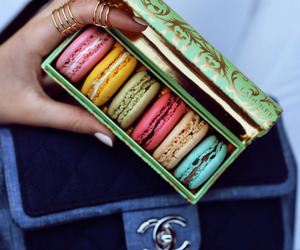 food, chanel, and macarons image