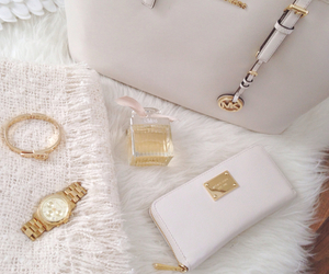 white, watch, and bag image