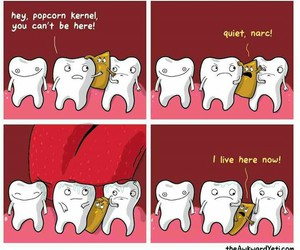 funny, popcorn, and teeth image