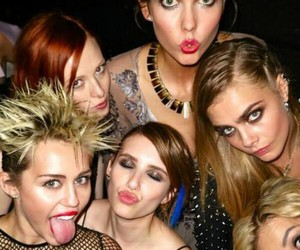 miley cyrus, rita ora, and emma roberts image