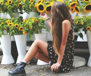 fashion, flower, and girl image