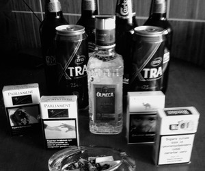 beer, blackandwhite, and cigarette image