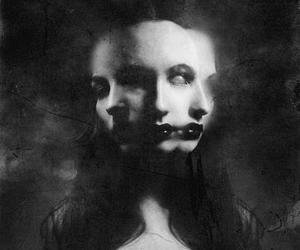 black and white, dark, and horror image