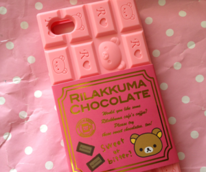 pink, rilakkuma, and chocolate image