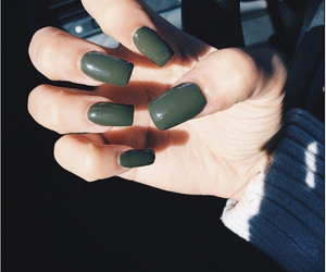 nails, olive, and olive nails image