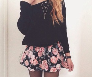 floral, sweater, and cute outfit image